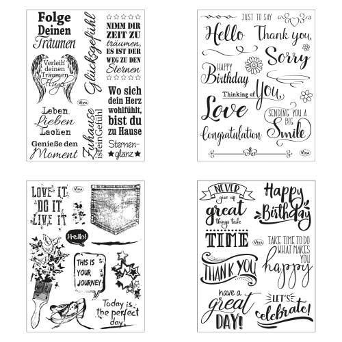 Clear Stamps 4er Set - Sprüche I -
