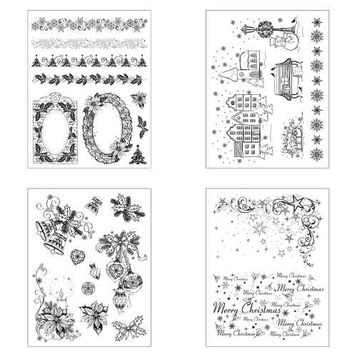 Clear Stamps 4er Set - Weihnachten Modern -