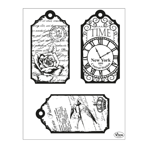 Clear Stamps 14 x 18 cm -Tags-Time-