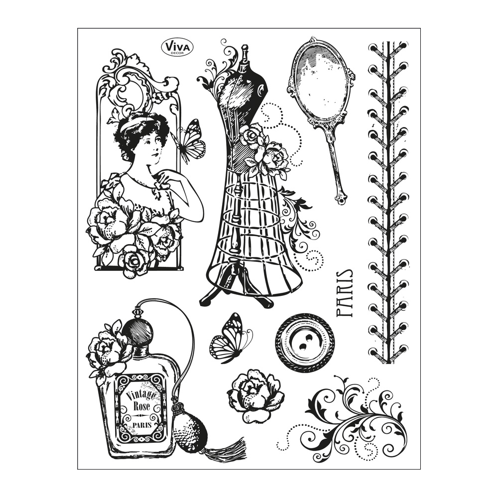 Vintage Couture Clear Stamps 14 x 18 cm