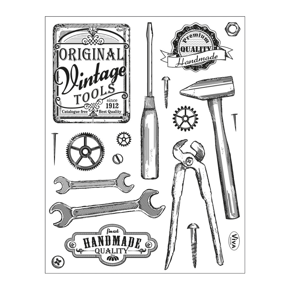 Clear Stamps 14 x 18 cm -Vintage Tools-