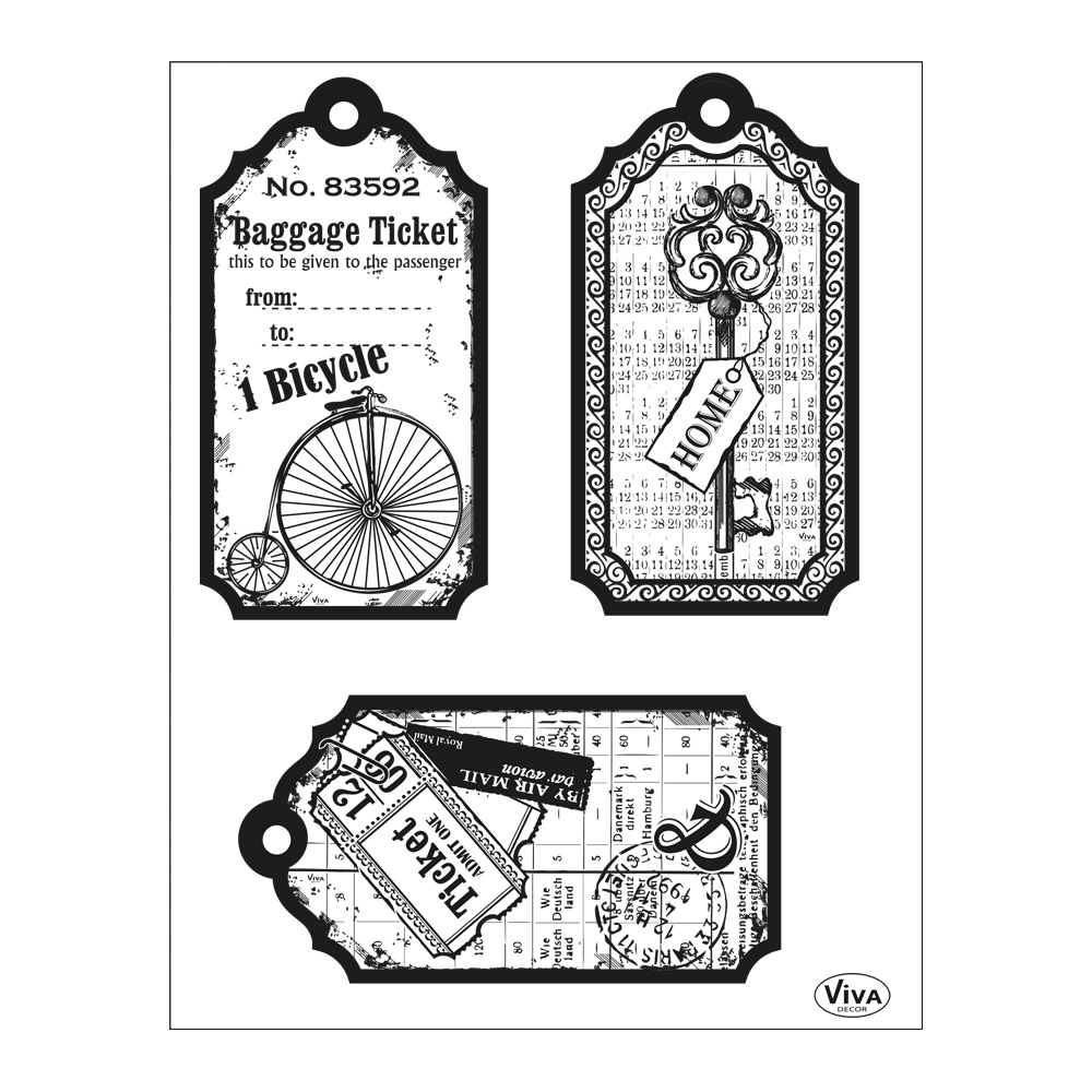 Clear Stamps 14 x 18 cm -Tags-Bicycle-