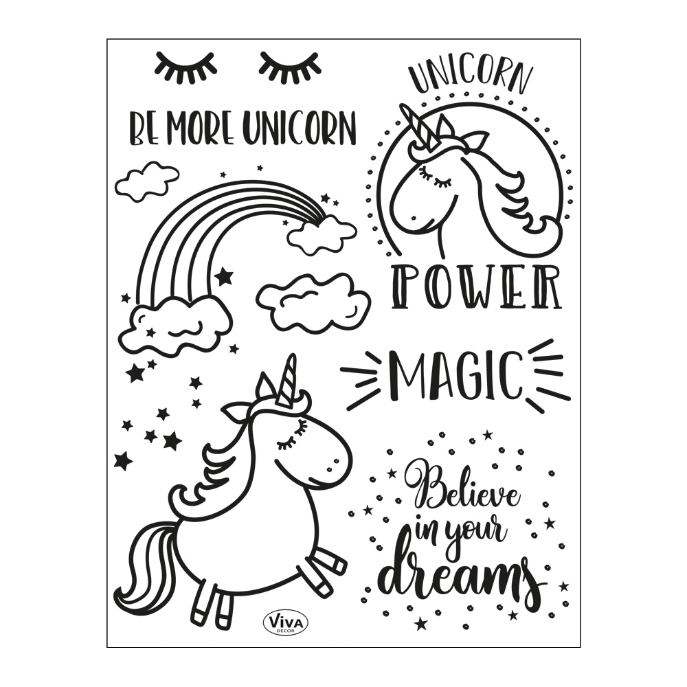 Clear Stamps 14 x 18 cm -Unicorn Power-